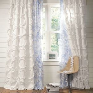 Pottery Barn Teen Ruffle Ring Curtains set of 2
